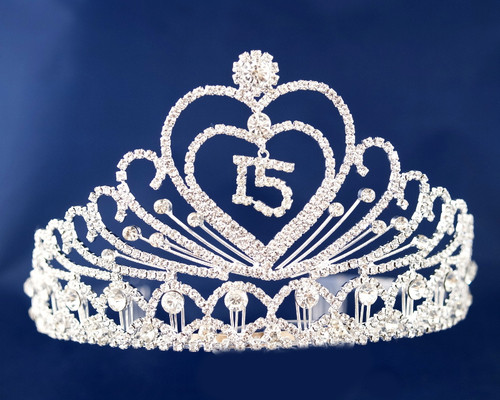 """Silver Crystal Rhinestone Tiara """"Mis Quince Anos""""- Pack of 4 (TX002)"""