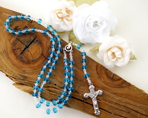 "17"" Turquoise Crystal Rosary with Rondelle Faceted Glass Beads"