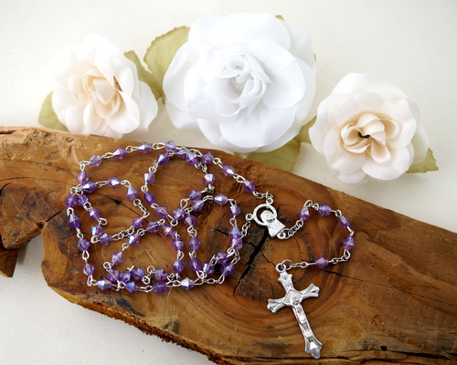 """20"""" Purple iridescent Rosary  - Pack of 12 Pieces"""