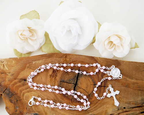 "16"" Pink Pearl Rosary Necklace  - Pack of 12 Pieces"