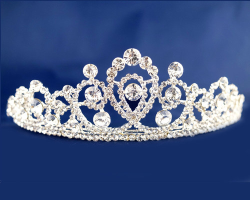 Silver Crystal Rhinestone Tiara  - Pack of 12 (TN092)