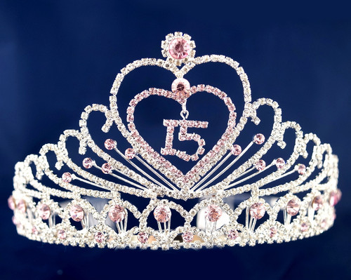 "Pink Crystal Rhinestone Tiara ""Mis Quince Anos"" (TX002)"