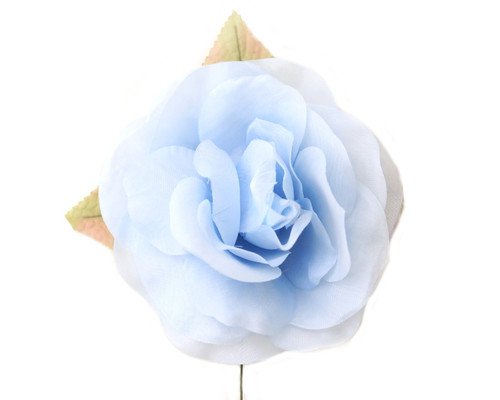 "5"" Blue Single Rose Silk Flowers - Pack of 12"