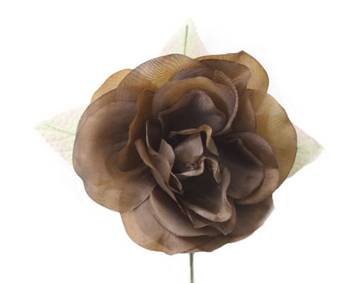 "5"" Brown Single Rose Silk Flowers - Pack of 12"