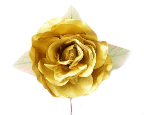"5"" Gold Single Rose Silk Flowers - Pack of 12"