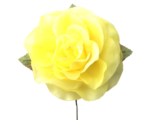 "5"" Light Yellow Single Rose Silk Flowers - Pack of 12"