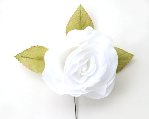"5"" White Single Rose Silk Flowers - Pack of 12"