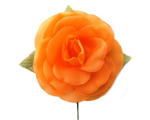 "5"" Orange Single Rose Silk Flowers - Pack of 12"