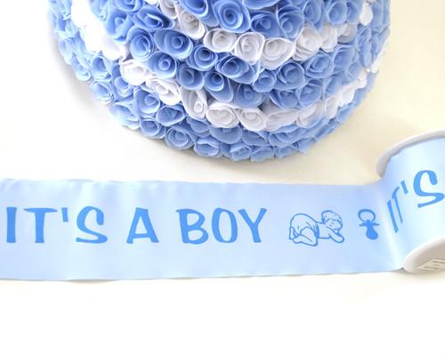 "3"" x 25 Yards Blue Baby Shower Maternity Sash Satin Ribbon - Pack of 4"