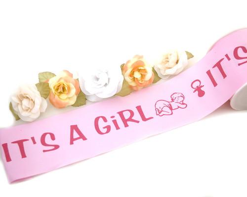 "3"" x 25 Yards Pink Baby Shower Maternity Sash Satin Ribbon - Pack of 4"