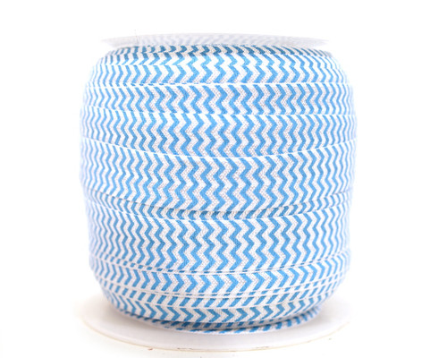 5/8 x 50 Yards Blue and White Chevron Fold Over Elastic Sewing Trim