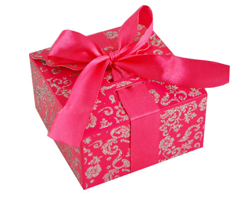 Fuchsia Glitter Candy Favor Box with Satin Ribbon - Pack of 50