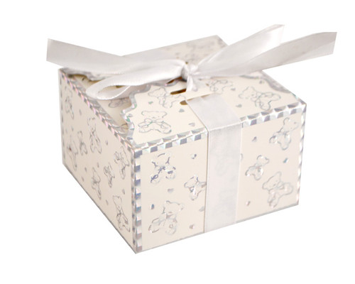 White Baby Shower Favor Box with Satin Ribbon - Pack of 50