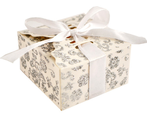 White Glitter Candy Favor Box with Satin Ribbon - Pack of 50
