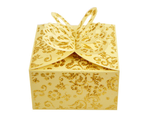 Ivory Butterfly Glitter Favor Box - Pack of 50