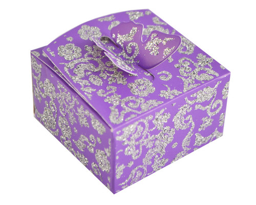 Purple Butterfly Glitter Favor Box - Pack of 50