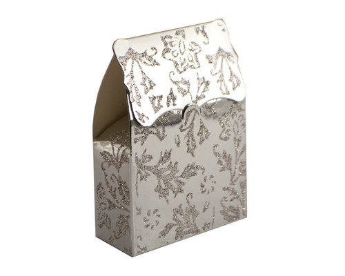 Silver Glitter Candy Favor Box - Pack of 50