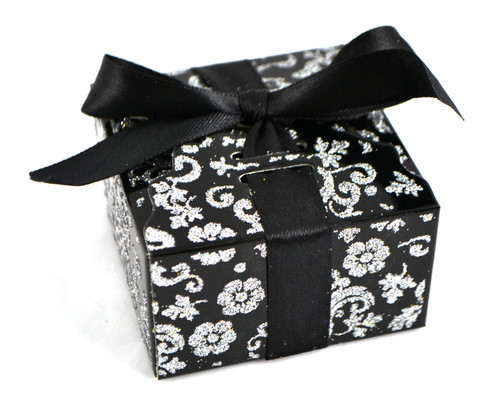 Black Glitter Favor Box with Satin Ribbon - Pack of 50