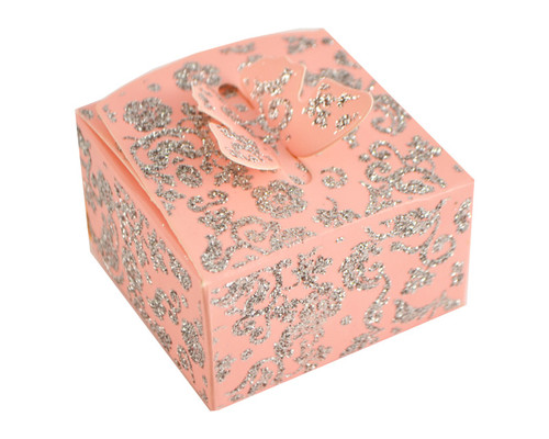 Pink Butterfly Glitter Favor Box - Pack of 50