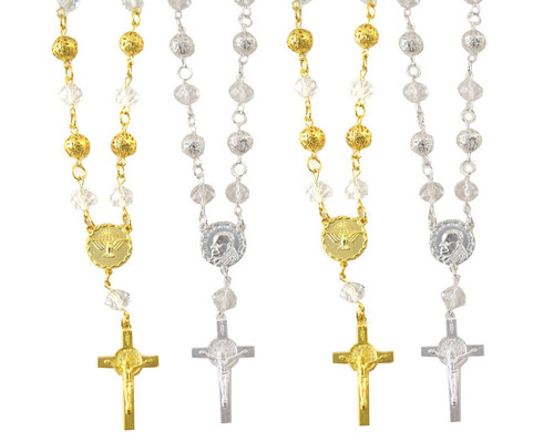 """6"""" Small Metal Ball Rosary Bracelet with Cross Pendant - Pack of 12"""