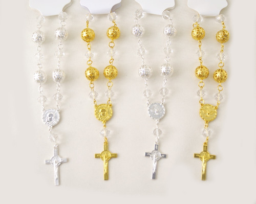 """6"""" Large Metal Ball Rosary Bracelet with Cross Pendant - Pack of 12"""