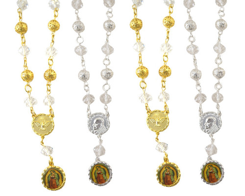 """6"""" Small Metal Ball Rosary Bracelet with Guadalupe Pendant - Pack of 12"""