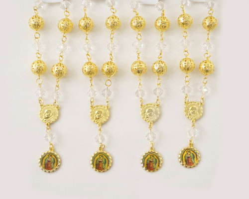 """6"""" Large Metal Ball Rosary Bracelet with Guadalupe Pendant - Pack of 12"""