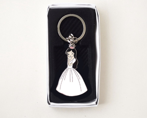 White Quinceanera Metal Keychain - Pack of 12