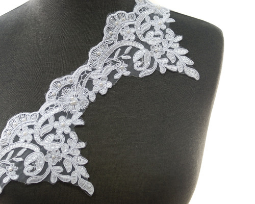 """5""""x15 Yards Floral Embroidered Bridal French Venice Lace with Pearls"""