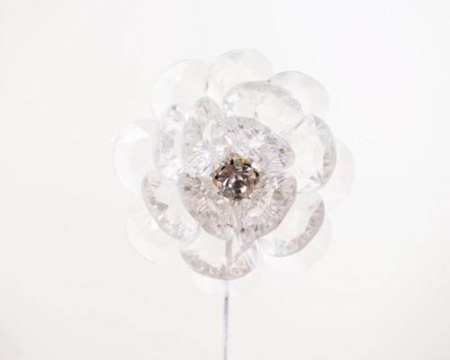 """2"""" Clear Acrylic Flowers with Rhinestone - Pack of 12"""