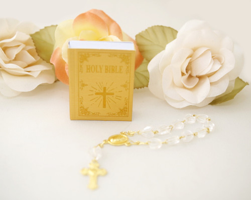 "1.5"" Gold Miniature Holy Bible Favor - Pack of 72"