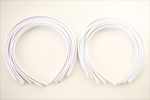 "1/2"" White Plastic Hair Headbands for Girls  - Pack of 72"
