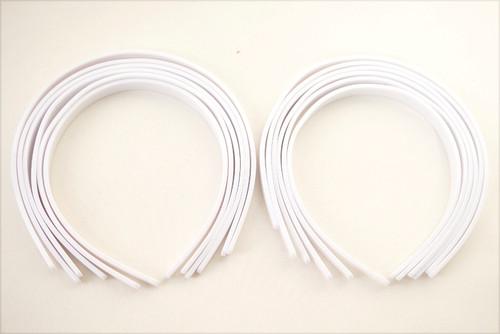 """1/4"""" White Plastic Hair Headbands for Girls  - Pack of 72"""