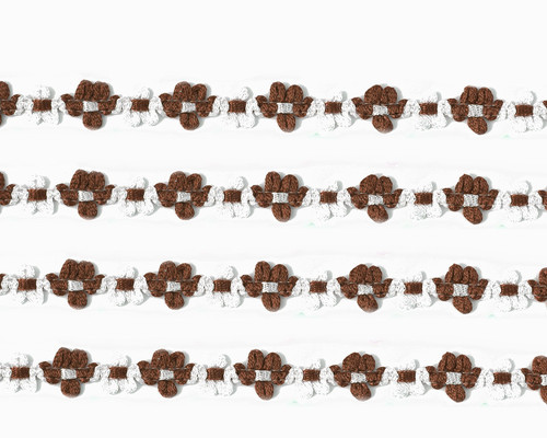 """3/8"""" x 25 Yards Brown French Rococo Ribbon Trim - Pack of 5"""