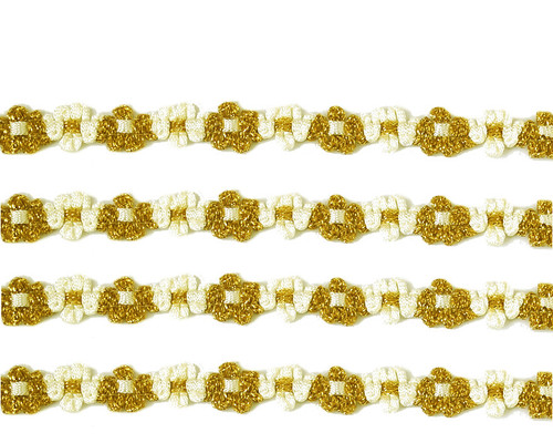 """3/8"""" x 25 Yards Gold-Ivory French Rococo Ribbon Trim - Pack of 5"""
