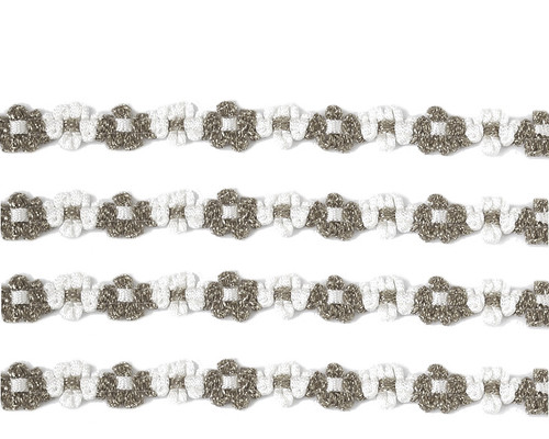 """3/8"""" x 25 Yards Silver French Rococo Ribbon Trim - Pack of 5"""