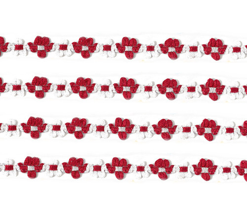 """3/8"""" x 25 Yards Red French Rococo Ribbon Trim - Pack of 5"""