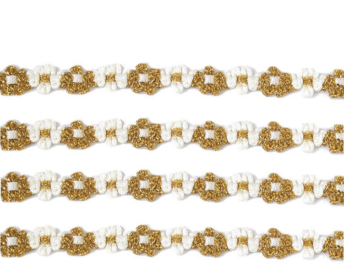 """3/8"""" x 25 Yards Gold-White French Rococo Ribbon Trim - Pack of 5"""