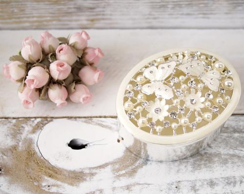 Oval Enamel Filigree Ring Box with Pearls - 1 Box