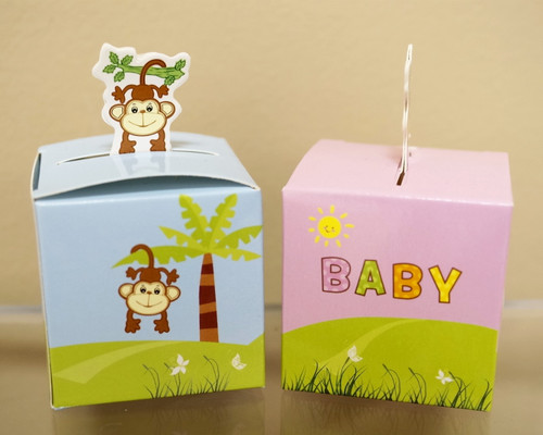 """2"""" Baby Shower Paper Favor Box """"Monkey"""" - Pack of 50"""