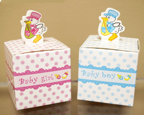 "2"" Baby Shower Paper Favor Box ""Stork"" - Pack of 50"