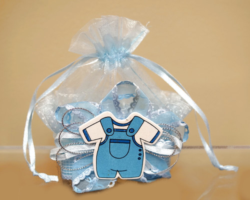 Blue Baby Shower Plastic Basket Favor Box  - Pack of 12