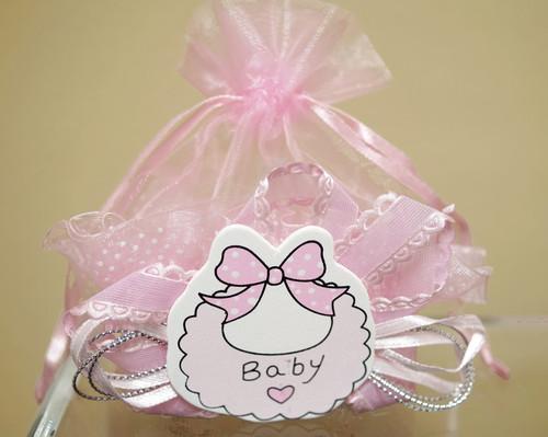 Pink Baby Shower Plastic Basket Favor Box  - Pack of 12