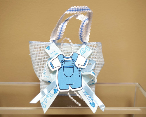 Blue Baby Shower Plastic Basket Favor Box Bag  - Pack of 12