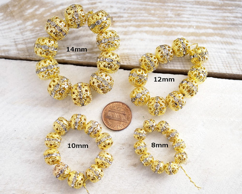 10mm Topaz Gold Filigree Spacer Beads with Rhinestones - Pack of 100 Pieces
