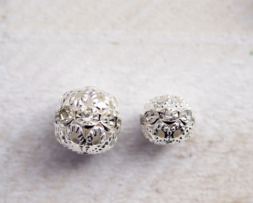 12mm Silver Filigree Spacer Beads with Rhinestones - Pack of 100 Pieces