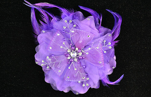 6 purple large silk single flower with pearl and for Cb flowers and crafts