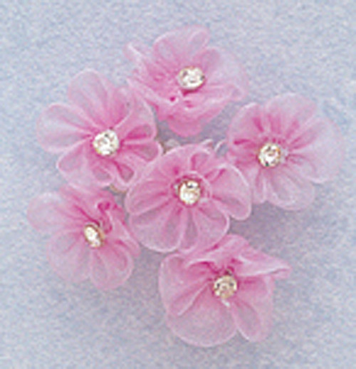 1 Quot Lavender Organza Flowers With Rhinestone Pack Of 72