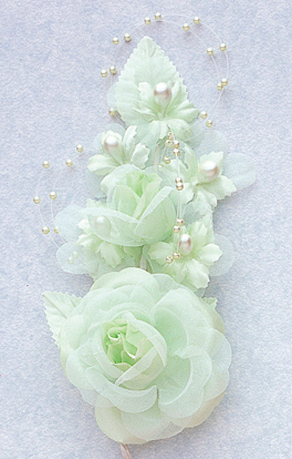 6 mint green silk corsage flowers with pearl spray pack for Cb flowers and crafts