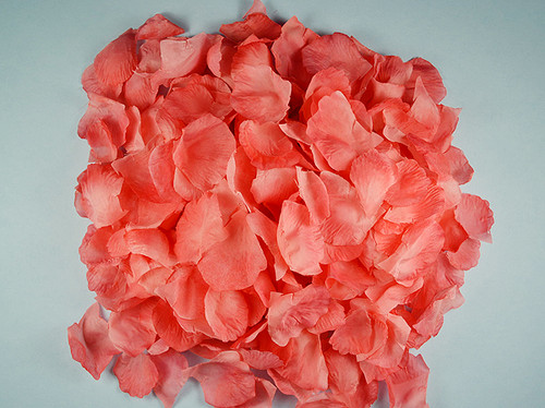 Coral wedding silk rose flower petals 12 packs cb for Cb flowers and crafts